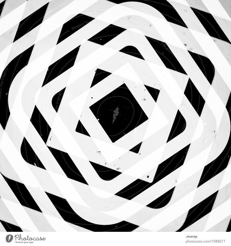 White Black Style Design Crazy Cool (slang) Irritation Square Double exposure Symmetry Ornament Hypnotic