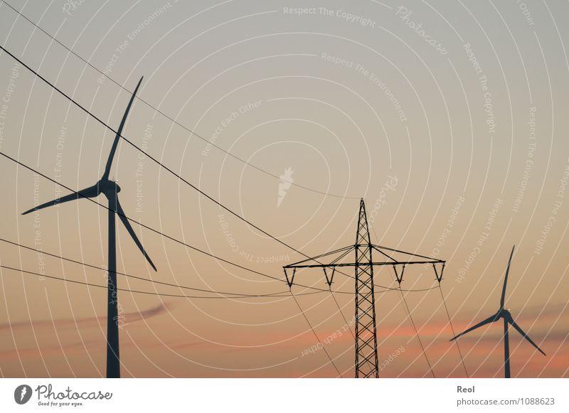stream Renewable energy Beautiful weather Orange Red Dusk Electricity pylon Electricity generating station Power transmission Energy industry Wind energy plant