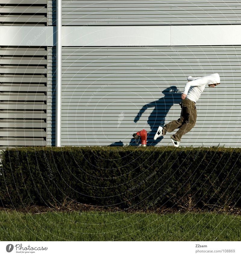 Man White Red Line Stairs Beginning Dangerous Threat Bushes To fall Dive Edge Ascending Tilt Hooded (clothing)