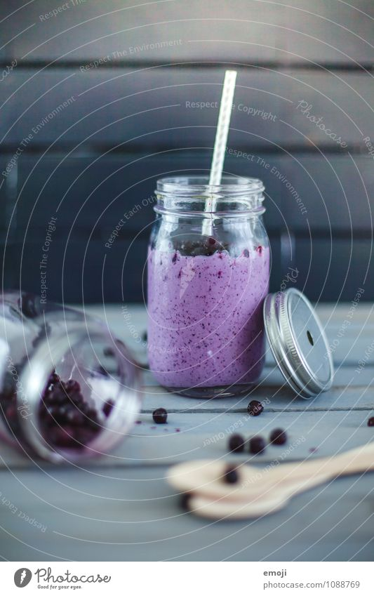 Coconut milk shake with blueberries Dairy Products Fruit Nutrition Organic produce Fasting Beverage Cold drink Milkshake Delicious Sweet Blue Blueberry Straw
