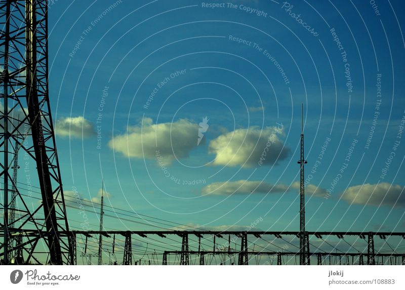 Sky Blue Clouds Power Force Industry Energy industry Electricity Dangerous Logistics Threat Net Station Traffic infrastructure Electricity pylon Share