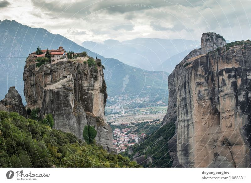 Meteora in Greece. Meteora is the monasteries Nature Vacation & Travel Old Beautiful Summer Landscape Forest Mountain Architecture Religion and faith Rock