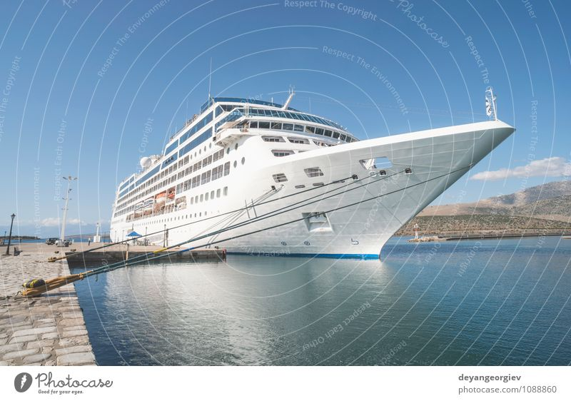 Big passenger ship Luxury Vacation & Travel Trip Cruise Summer Ocean Sky Clouds Coast Transport Passenger ship Watercraft Maritime Modern Blue White big vessel