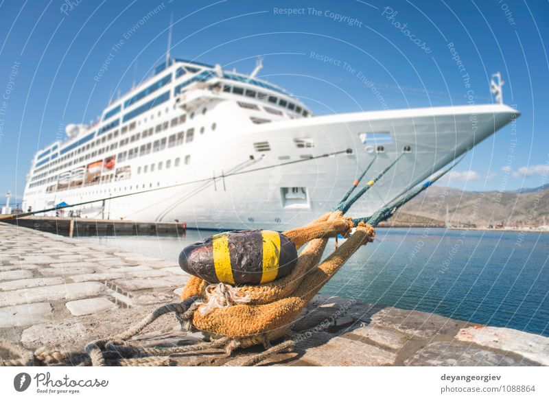Big white cruise ship. Synny day Luxury Relaxation Leisure and hobbies Vacation & Travel Tourism Trip Cruise Summer Ocean Sailing Sky Harbour Transport