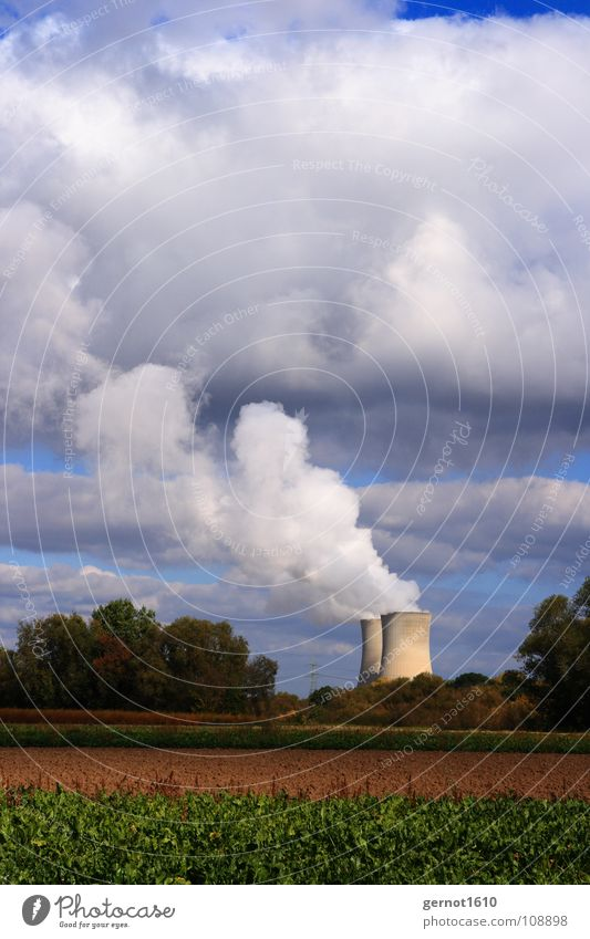 Clouds Environment Landscape Warmth Power Energy industry Future Force Industry Technology Radiation Foyer Disaster Environmental pollution Steam Development