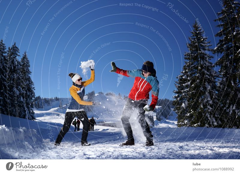 snowball fight Happy Winter Snow Winter vacation Fitness Sports Training Winter sports Human being Couple Partner 2 18 - 30 years Youth (Young adults) Adults