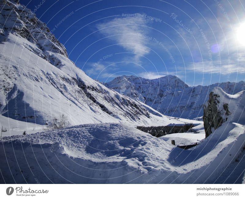 Graubünden Wellness Nature Landscape Sky Sun Winter Snow Mountain Beautiful Colour photo Day Shadow Sunlight Sunrise Sunset