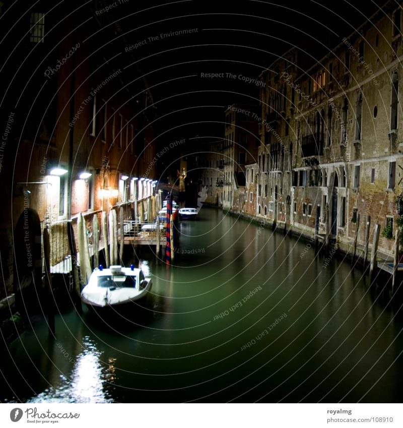 Death in Venice Italy Watercraft Green Black White Light Dark Night Footbridge Lantern House (Residential Structure) Derelict Reflection Loneliness Calm