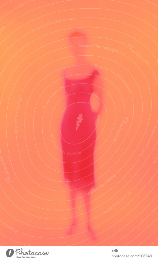 you Woman Dress Retro Appearance Waist Feminine Simple Summery Silhouette Posture Body language Stand Light Impression Blur Red Physics To distance