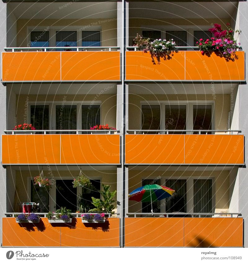 Summer [07] in front of balcony Balcony Sunshade Flower Window box Prefab construction Physics Petit bourgeois Detail Germany balconies Blossoming Warmth