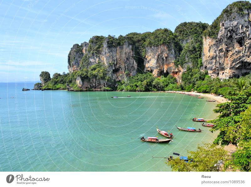 Ton Sai Beach on a sunny day with longtail boats Relaxation Vacation & Travel Ocean Climbing Mountaineering Landscape Forest Rock Watercraft Blue Turquoise