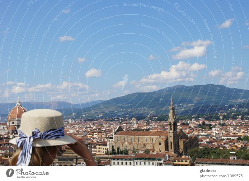 View over Florence Vacation & Travel Far-off places Summer Feminine 1 Human being Italy Town Church Dome Tourist Attraction Hat Bow Observe Relaxation Dream Old