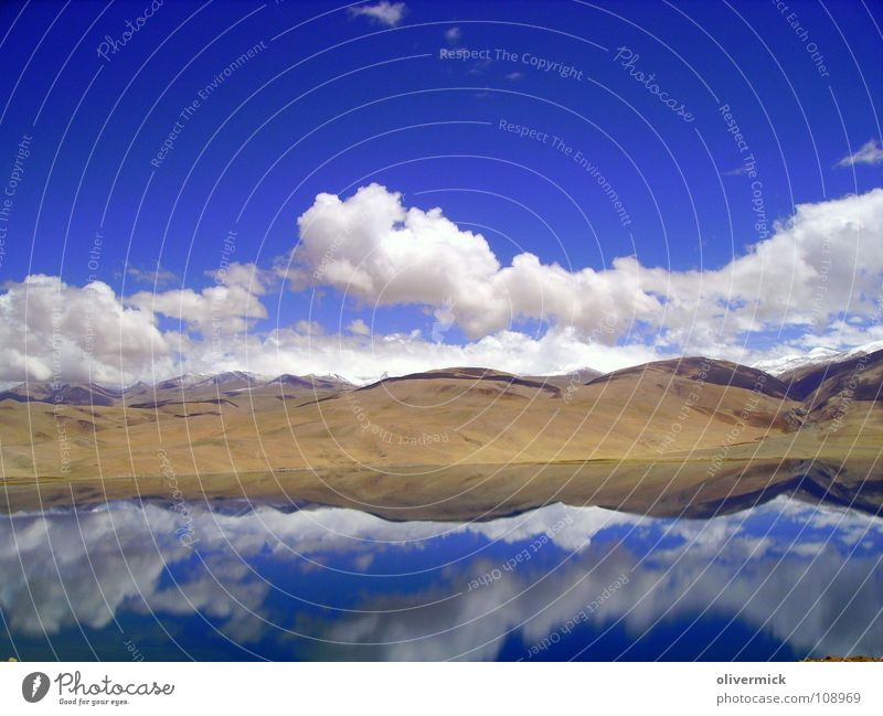 mirror image Clouds Lake Reflection White Brown Moody India Air Ladakh Mountaineering Mountain lake Hiking Loneliness Blue Freedom Climate Sky Water Panormama