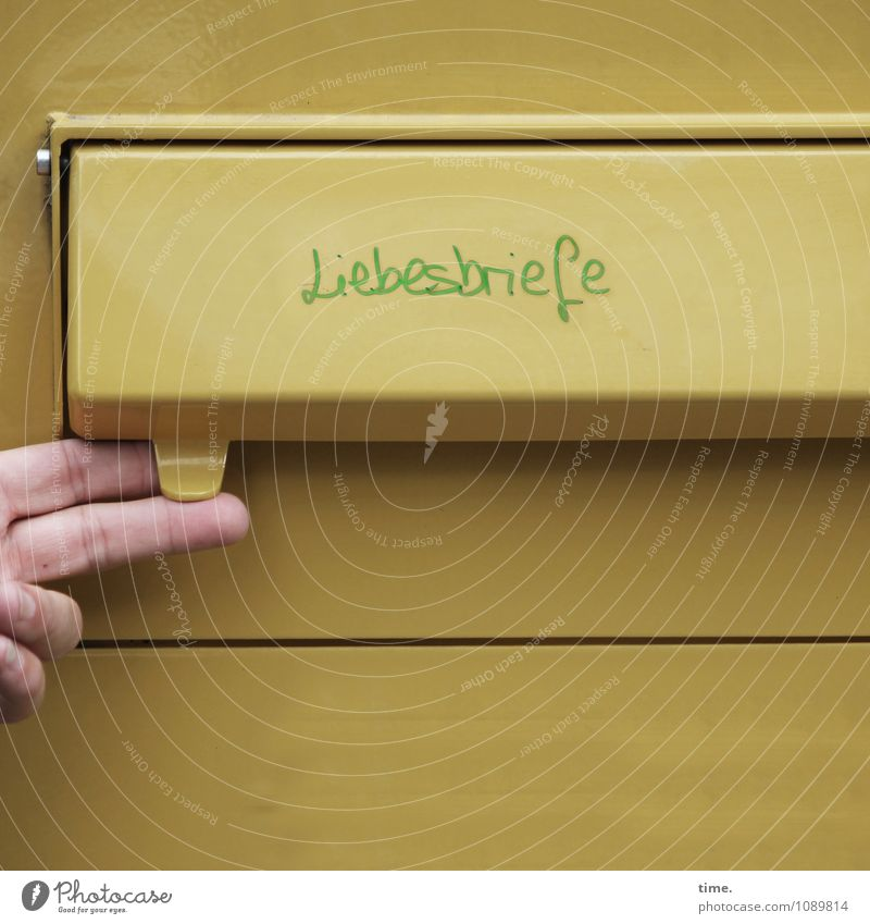 analog culture Logistics Services Media industry Mailbox Letter (Mail) With love Love letter by hand Fingers 1 Human being Box Metal Happiness Historic
