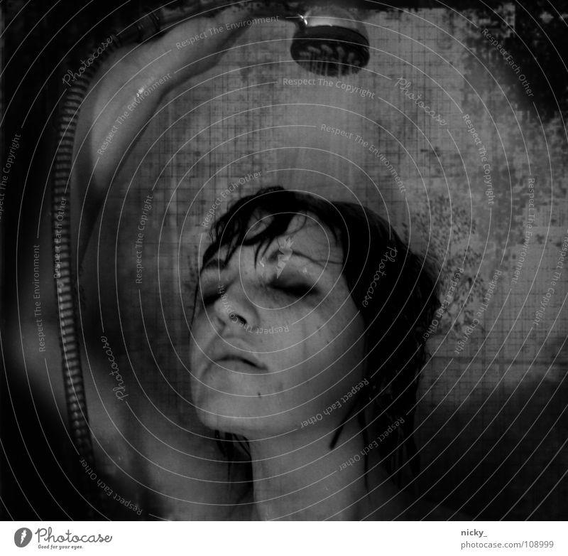 Woman Water White Black Wet Shower (Installation) Take a shower