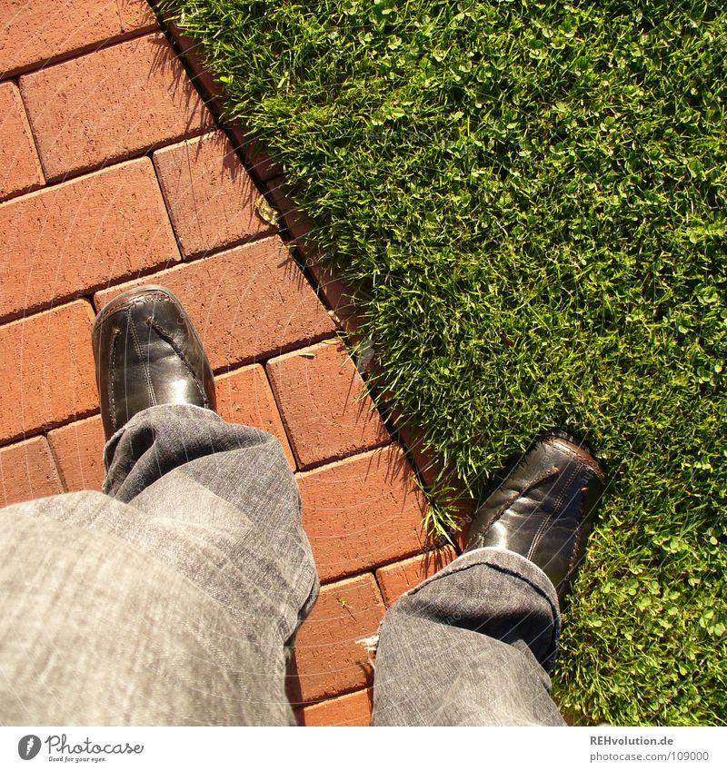 Human being Green Red Meadow Grass Garden Stone Feet Lanes & trails Footwear Legs Wait Corner Lawn Stand Pants