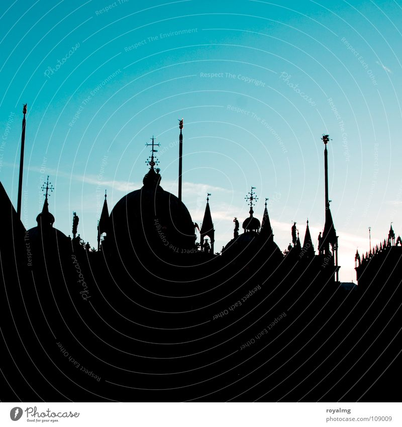 occident Black Sunrise Manmade structures St. Marks Square Places Dark Silhouette Flagpole Venice Italy Tower Roof Morning Peace Calm House of worship Blue