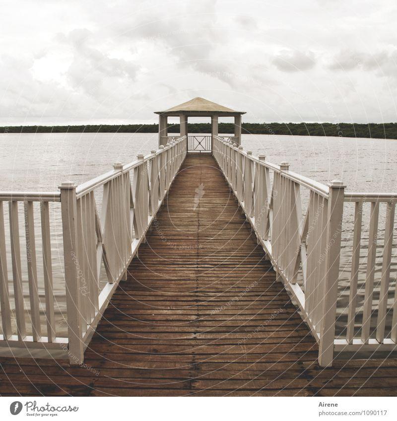 Ocean Loneliness Calm Clouds Dark Sadness Gray Brown Weather Arrangement Gloomy Closed Simple Bridge Roof Lakeside