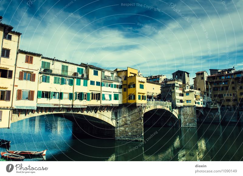 Ponte Vecchio [1] Vacation & Travel Tourism Sightseeing City trip Summer Summer vacation Sky Clouds Beautiful weather River Arno Florence Italy Town Downtown