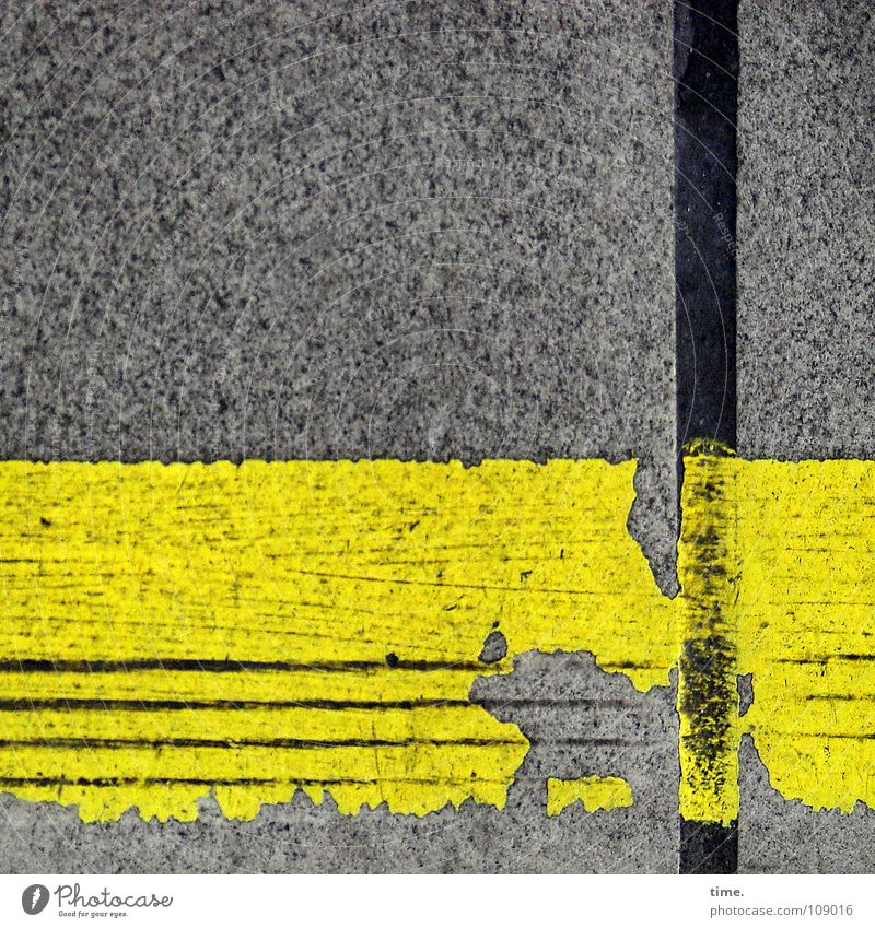 Order is half the life ... [I] Colour photo Exterior shot Decoration Services Transport Traffic infrastructure Platform Concrete Broken Yellow Gray Friction