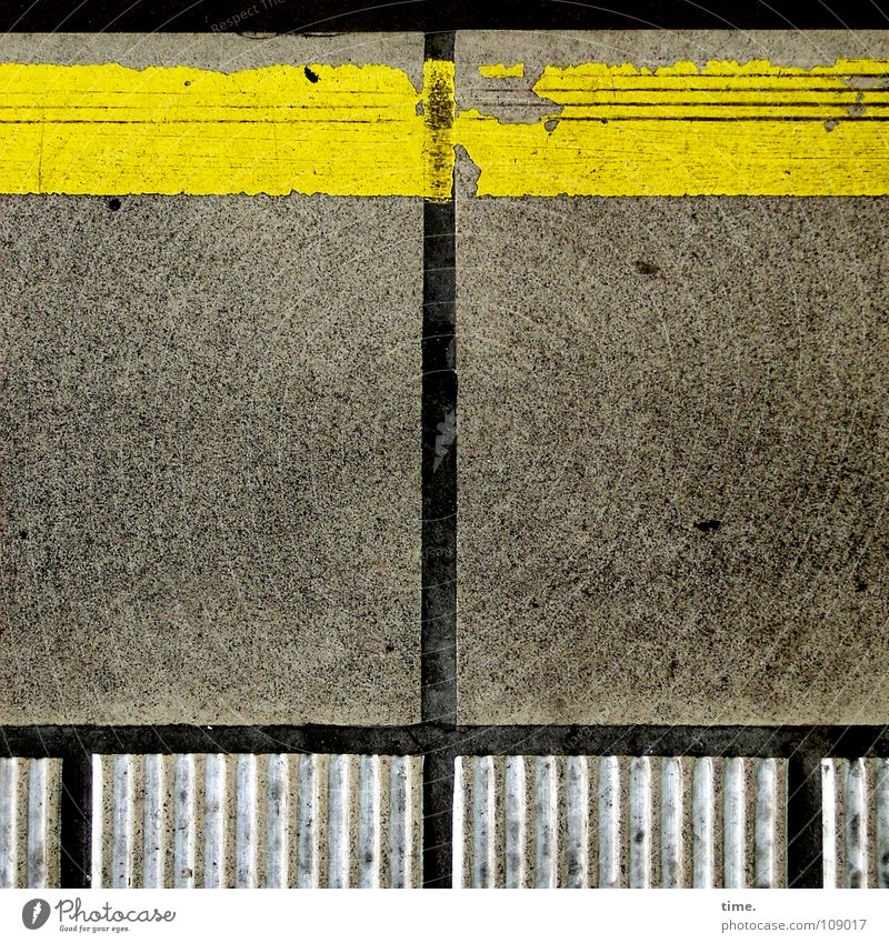 Order is half the life ... [II] Colour photo Exterior shot Decoration Services Train station Traffic infrastructure Platform Concrete Broken Yellow Gray