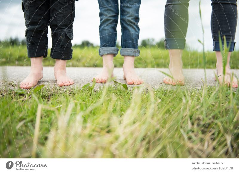 Human being Woman Child Nature Clouds Adults Life Love Meadow Feminine Happy Healthy Going Feet Lifestyle Family & Relations