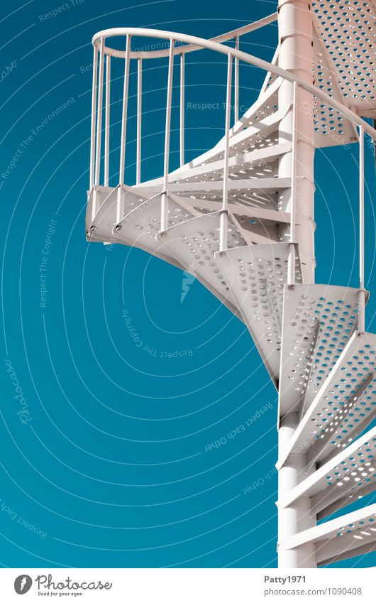 Blue White Movement Stairs Success Cloudless sky Upward Spiral Optimism Go up Winding staircase Metal steps