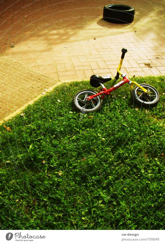 hit and run Kiddy bike Grass Lawn Exterior shot Wayside Deserted Lie Forget