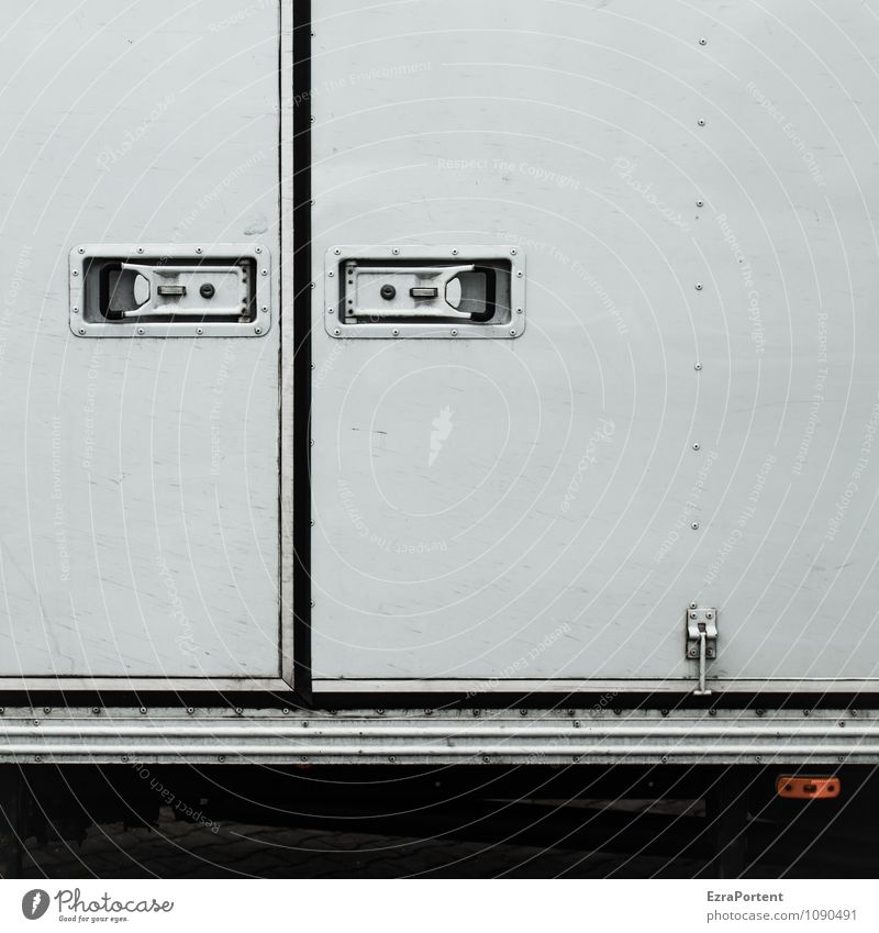 grim Design Transport Means of transport Logistics Truck Decoration Metal Line Stripe Gray Black White Illustration Graphic Closed Closure Hinge Lock Reflector