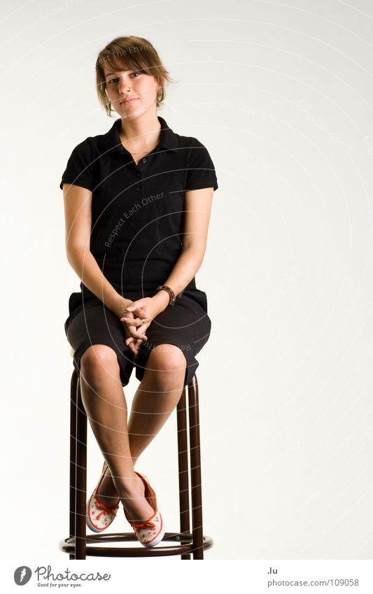 Woman Calm Full-length Isolated Image Contentment Wait Sit Portrait photograph Chair Bar Trust Serene Frontal Stool Bright background