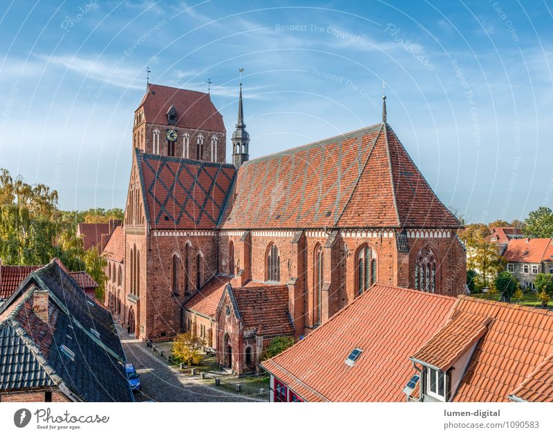Güstrower Cathedral Clock Town Downtown Old town Dome Window Roof Brick Religion and faith Culture Brick Gothic Gothic period Church service Church spire