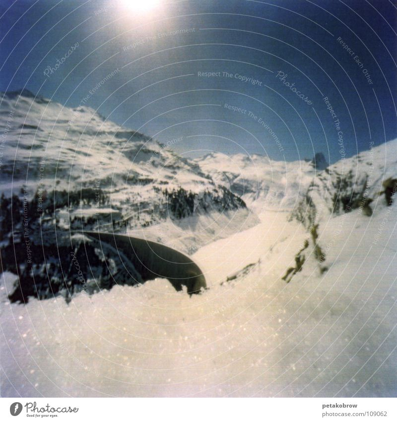 Hole pattern Vals01 Switzerland Mountain hole pattern hole camera Snow thermal bath Alps Sun