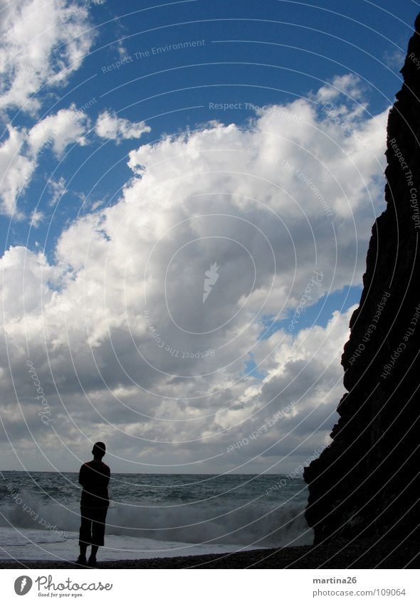 Human being Sky Ocean Clouds Loneliness Far-off places Lake Think Waves Horizon Rock Romance Longing Impressive Massive Natural phenomenon