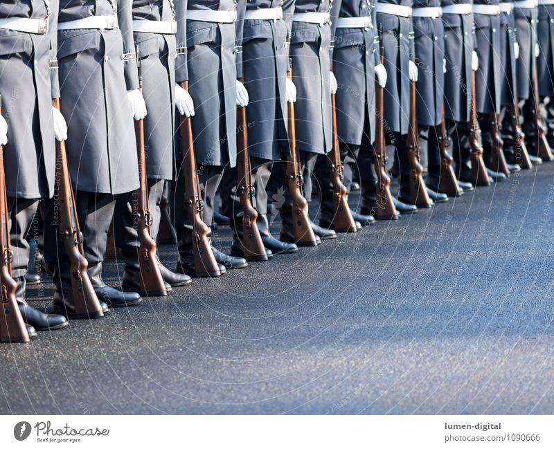 Soldiers of the Guard Regiment of the German Armed Forces Street Coat Boots Together War Germany Army Brigade Federal armed forces Diagonal drill Rifle In step