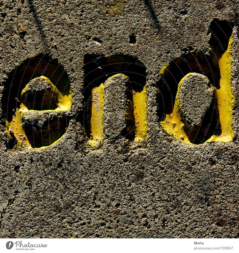 Yellow Gray Stone Feasts & Celebrations Grief Characters End Letters (alphabet) Obscure Distress Typography Past Completed Hard Darken