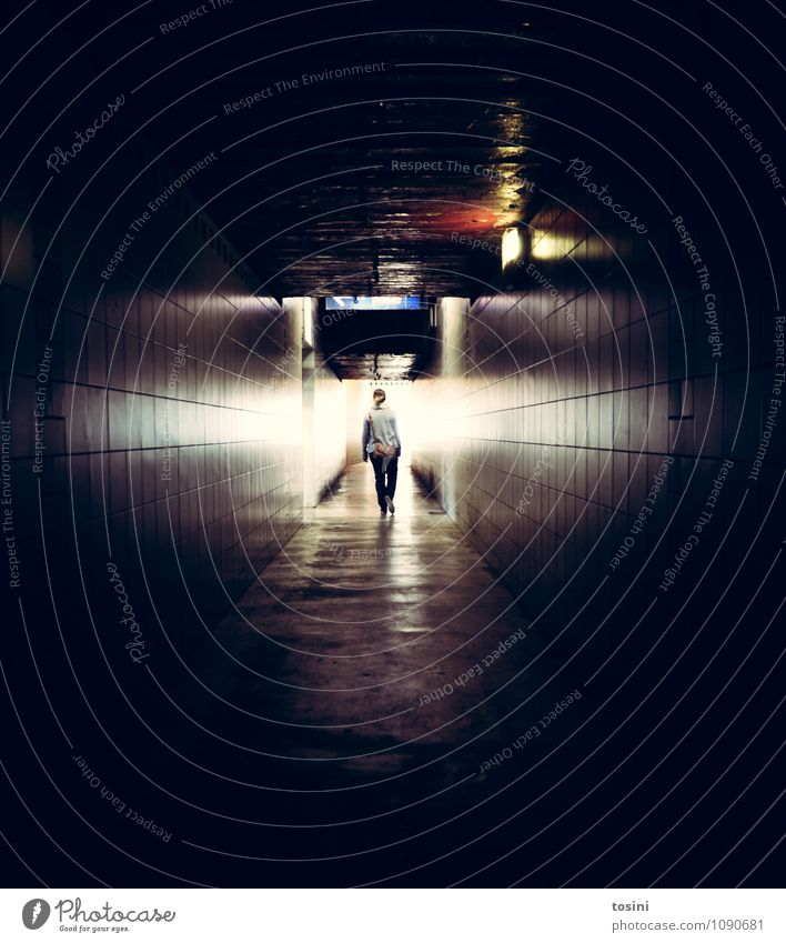 light at the end of the tunnel Young woman Youth (Young adults) Woman Adults 1 Human being Tunnel Manmade structures Building Architecture Wall (barrier)