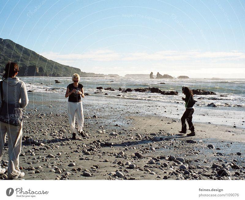 stones of punakaiki Beach New Zealand Ocean Vacation & Travel Pancake Rocks Woman Impression Stop Break Playing Stone To go for a walk Around-the-world trip