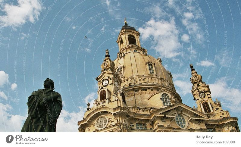 Sky Blue Black Clouds Religion and faith New Dresden Statue Monument Manmade structures Upward Blue sky House of worship Frauenkirche Martin Luther