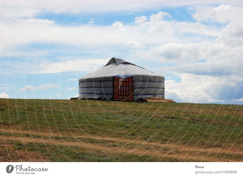 Traditional yurt tent home ger of Mongolian nomads Nature Vacation & Travel Summer Landscape House (Residential Structure) Mountain Architecture Meadow Grass