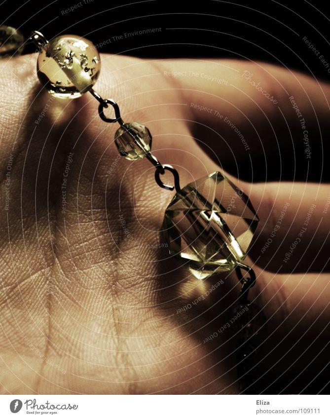 Hand Beautiful Green Black Dark Line Moody Lighting Glittering Glass Fingers Luxury Jewellery Chain Noble Crystal structure
