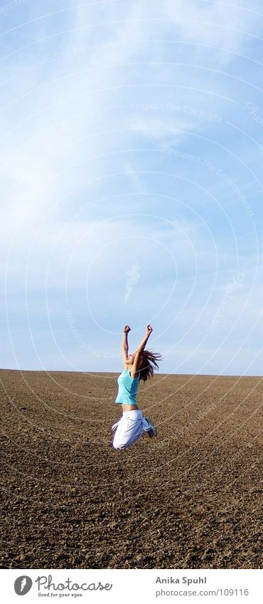 Woman Sky Youth (Young adults) Beautiful Summer Sun Clouds Joy Life Happy Freedom Jump Field Free Happiness Fitness