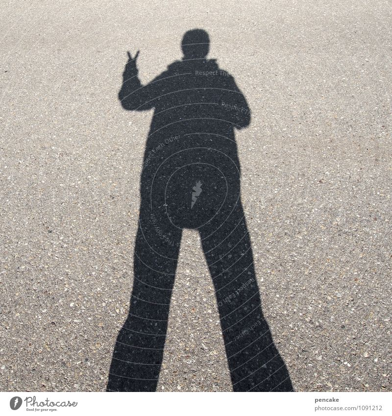 Human being Life Success Communicate Sign Easter Peace Contact Pavement Shadow play Sign language Hare ears Name