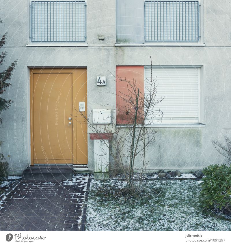 City House (Residential Structure) Winter Window Architecture Building Facade Living or residing Door Bushes Manmade structures Village Entrance Town Shutter