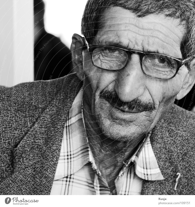 mahmoth Man Time Turkey Istanbul Eyeglasses Moustache Suit Happiness Expectation Shirt Old Nose relaxing Wrinkles Black & white photo Checkered