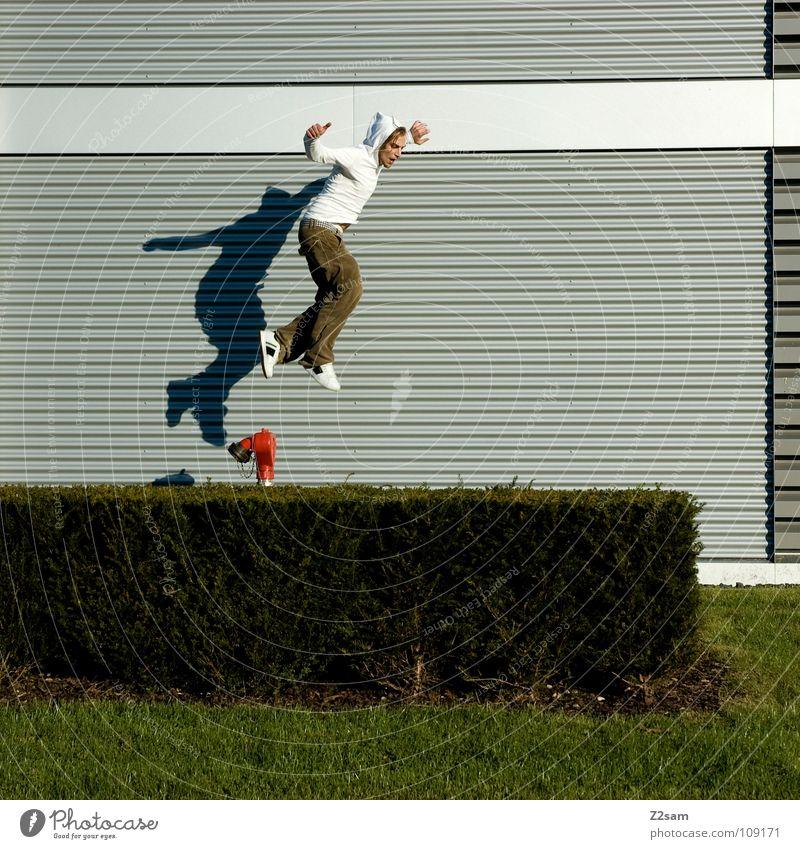 Man Nature Youth (Young adults) White Green Red Summer Grass Movement Garden Jump Line Beginning Modern Dangerous