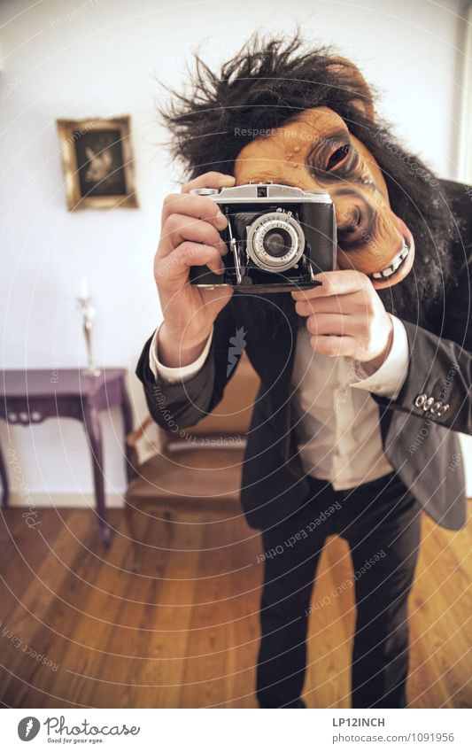 Human being Man Joy Adults Fashion Flat (apartment) Masculine Body Happiness Crazy Retro Camera Creepy Mask Suit Bizarre