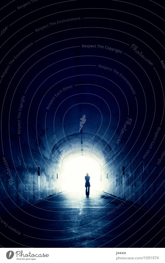 Finite infinite Woman Adults 1 Human being Tunnel Going Walking Old Free Infinity Blue Black White Emotions Moody Power Determination Acceptance Trust Caution