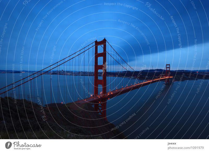 The Strait of San Francisco Town Bridge Golden Gate Bridge Tourist Attraction Old Large Blue Orange Red Black Hope Horizon Colour photo Subdued colour Evening