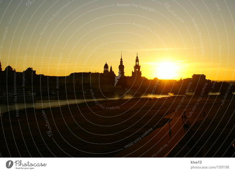 Skyline Dresden Autumn Saxony Sunset Sunrise Celestial bodies and the universe Historic Silhouette Elbe