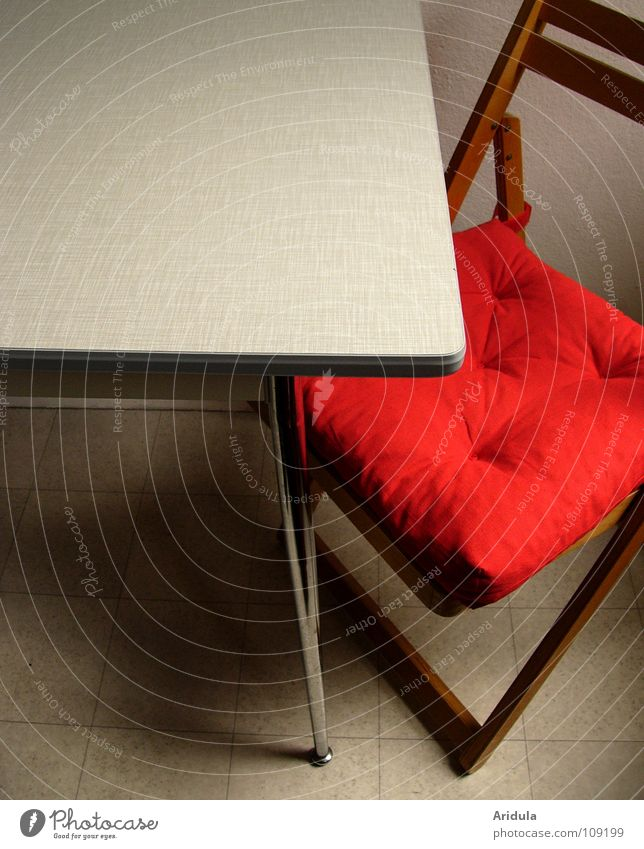 Room + table + chair Table Kitchen Red Structures and shapes Empty Wood Furniture Chair Shadow